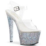 Silver 18 cm SKY-308LG glitter platform high heels shoes