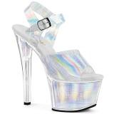 Silver 18 cm SKY-308N-CRHM Hologram platform high heels shoes