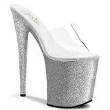 Silver 20 cm Pleaser FLAMINGO-801SDG Glitter Platform High Mules