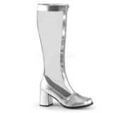 Silver 8,5 cm GOGO-307 Mesh womens boots with high heels