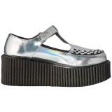 Silver CREEPER-214 Platform Women Creepers Shoes