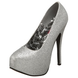Silver Glitter 14,5 cm TEEZE-31G Platform Pumps Shoes