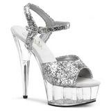 Silver Glitter 15 cm Pleaser DELIGHT-609 High Heel Platform
