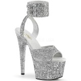 Silver Glitter 18 cm ADORE-791LG pleaser high heels with ankle straps