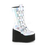 Silver Hologram 14 cm SWING-230 cyberpunk platform boots