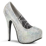 Silver Rhinestone 14,5 cm TEEZE-06R Platform Pumps Women Shoes