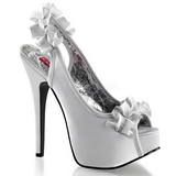 Silver Satin 14,5 cm TEEZE-56 Platform High Heeled Sandal Shoes