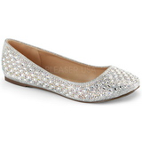 Silver TREAT-06 rhinestone flat ballerinas womens shoes