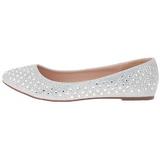 Silver TREAT-06 rhinestone flat ballerinas womens shoes