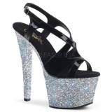 Silver glitter 18 cm Pleaser SKY-330LG Pole dancing high heels shoes