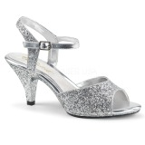 Silver glitter 8 cm BELLE-309G transvestite shoes
