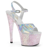 Silver glitter platform 18 cm ADORE-709HGG pleaser high heels shoes