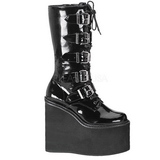 Skinnende 14 cm SWING-220 plateau damestøvler med spænder