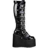 Skinnende 9 cm SWING-815 plateau damestøvler med spænder