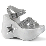 Sølv 13 cm Demonia DYNAMITE-02 lolita sandaler med kilehæle