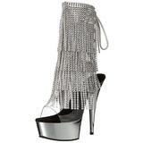 Sølv 15,5 cm DELIGHT-1017RSF ankelstøvler til damer med frynser