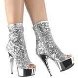 Sølv 15 cm DELIGHT-1008SQ ankelstøvler til damer med pailletter