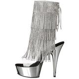 Sølv 15 cm DELIGHT-1017RSF ankelstøvler til damer med frynser