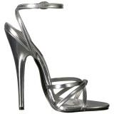 Sølv 15 cm DOMINA-108 fetish sandaler med stilethæl