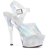 Sølv 15 cm KISS-208N-CRHM Hologram plateau high heels sko