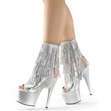 Sølv 18 cm ADORE-1024RSF ankelstøvler til damer med frynser