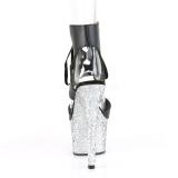 Sølv 18 cm ADORE-700-14LG glitter højhælede plateausko