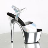Sølv 18 cm ADORE-709HGCH Hologram plateau high heels sko