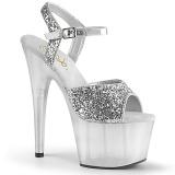 Sølv 18 cm ADORE-710GT glitter plateau high heels sko