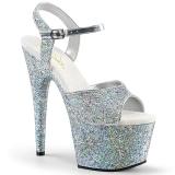 Sølv 18 cm ADORE-710LG glitter plateau high heels sko