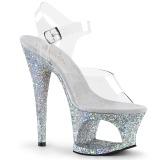 Sølv 18 cm MOON-708LG glitter plateau high heels sko