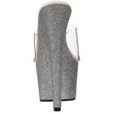 Sølv 18 cm Pleaser ADORE-701SDG Glitter Plateau Høje Mules