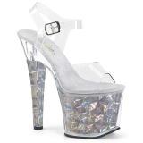 Sølv 18 cm RADIANT-708HHG Hologram plateau high heels sko