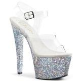 Sølv 18 cm SKY-308LG glitter plateau high heels sko