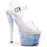 Sølv 18 cm SKY-308MC Hologram plateau high heels sko
