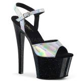 Sølv 18 cm SKY-309HG Hologram plateau high heels sko
