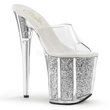 Sølv 20 cm FLAMINGO-801G glitter plateau mules damer med hæl