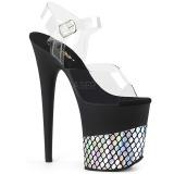 Sølv 20 cm FLAMINGO-808HFN Hologram plateau high heels sko