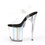 Sølv 20 cm FLAMINGO-808HGI Hologram plateau high heels sko