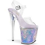 Sølv 20 cm FLAMINGO-808MC Hologram plateau high heels sko