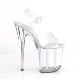 Sølv 20 cm FLAMINGO-808N-CK Hologram plateau high heels sko