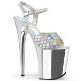 Sølv 20 cm FLAMINGO-809MMRS glitter plateau sandaler sko