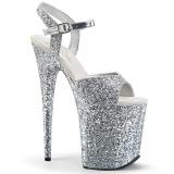 Sølv 20 cm FLAMINGO-810LG glitter plateau high heels sko