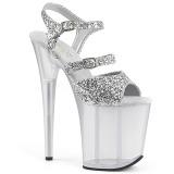 Sølv 20 cm FLAMINGO-874 glitter plateau sandaler sko
