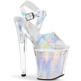 Sølv 20 cm XTREME-808N-CRHM Hologram plateau high heels sko