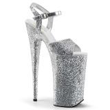 Sølv 25,5 cm BEYOND-010LG glitter plateau high heels sko