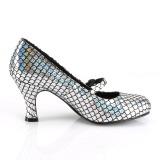 Sølv 7,5 cm MERMAID-70 pumps sko med lave hæle