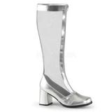 Sølv 8,5 cm GOGO-307 grid støvler til damer med høj hæl