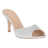 Sølv 8,5 cm LUCY-01 glitter flad mules damer med hæl