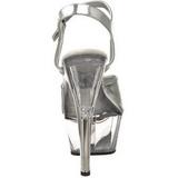 Sølv Gennemsigtig 15 cm Pleaser KISS-209 Høje Hæle Plateau