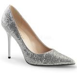 Sølv Glimmer 10 cm CLASSIQUE-20 spidse pumps med stiletter hæle